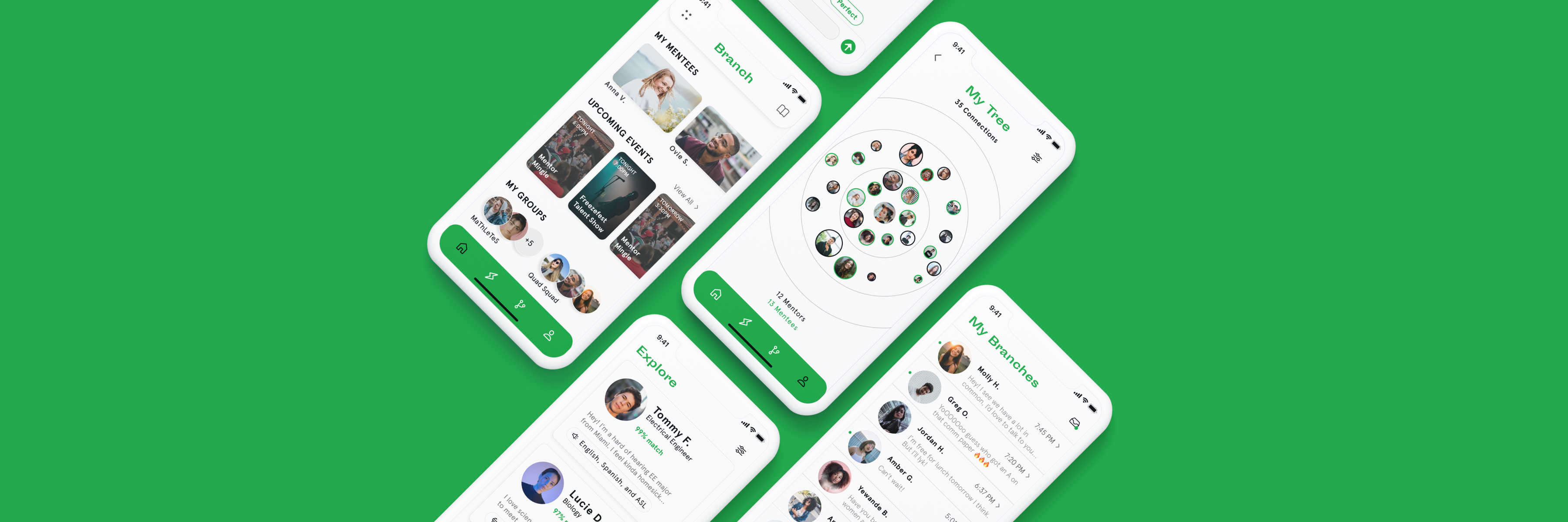clay iphone mockups of branch app on green background