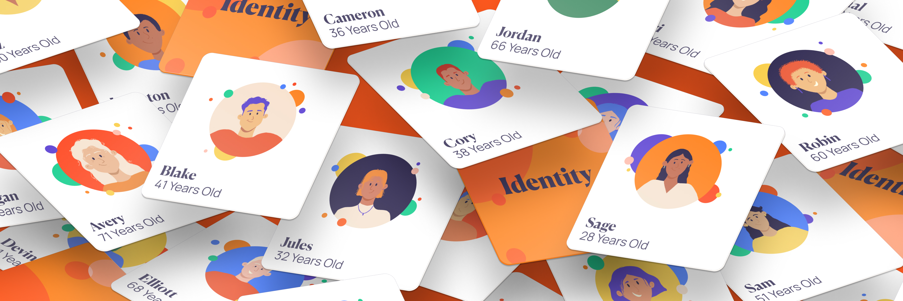 Image of cascading, isometric Identity cards from Imperfect Personas
